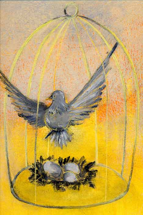 "michael krynski paintings ""bird"" oil on canvas"